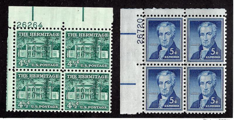 1037-1038 Mint,OG,NH... (2) Plate Blocks of 4