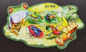 *FREE SHIP Guinea Bissau Frog 2011 Amphibian Reptile (ms MNH *odd shape *unusual