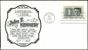 US FDC #1246 #M30 Boerger Cachet Boston, MA JFK John Kennedy