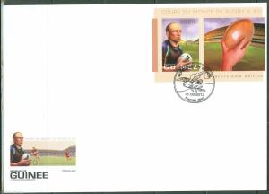 GUINEA 2013 RUGBY WORLD CUP  SOUVENIR  SHEET   FIRST DAY COVER