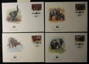 uganda 1984 WWF african elephants 4 values FDC superb used