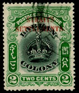 MALAYSIA - Straits Settlements SG142a, 2c black & green, USED. Cat £325.