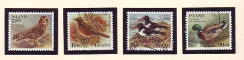 Iceland Sc642-4 1987 birds stamp set used