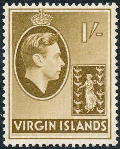 British Virgin Islands 1938 1s Olive-Brown SG117 MH