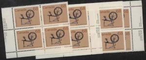 Canada USC #933 Mint MS Imprint Blocks 1985 68c Spinning Wheel - VF-NH