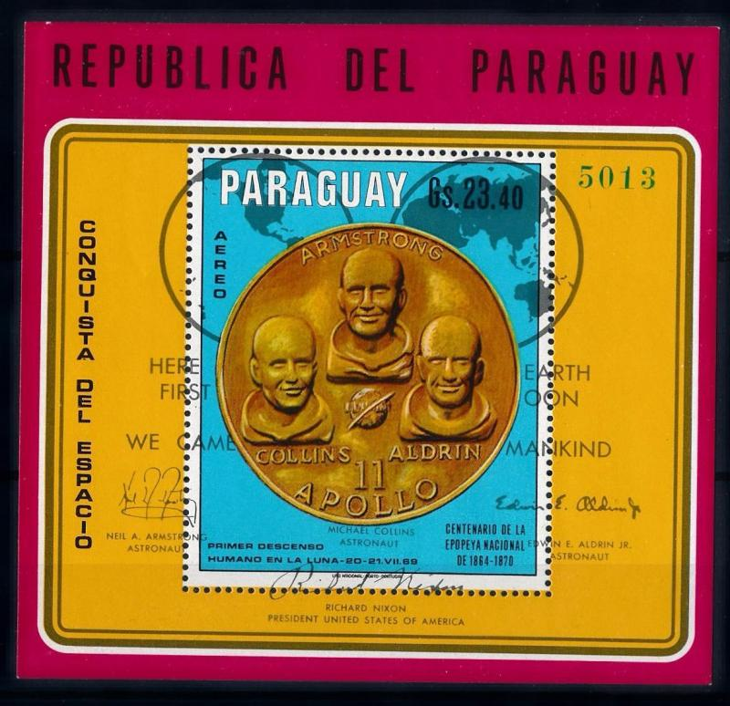 [66076] Paraguay 1970 Space Travel Weltraum Apollo 11 Coin Souvenir Sheet MNH