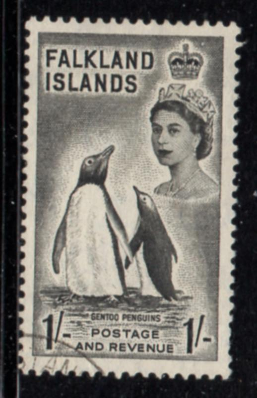 Falkland Islands Sc 127 1955 1/ QE II & Penquin stamp used