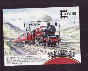 St Helena-Sc#681-unused NH sheet-Capex 96-Postal Transport-Trains-Locomotives-19