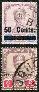 JOHORE SG56/7 1903 50c on 3 Dollar and 1 Dollar on 2 Dollars CDS used