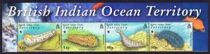 BIOT WWF Sea Cucumbers Top strip with Name of the Territory SG#392-395