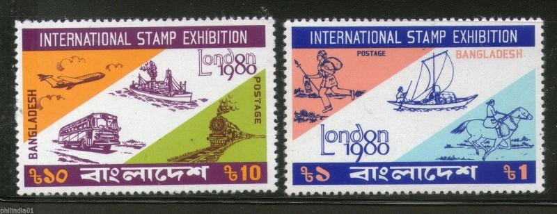 Bangladesh 1980 London Stamp Exhibition Early Mail Transport Sc 183-4 MNH # 1236