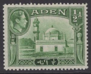 ADEN SG16 1939 ½a YELLOWISH-GREEN MTD MINT