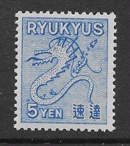 JL J32, RYUKYU ISLANDS 1950 SC E1 DRAGON, MNH