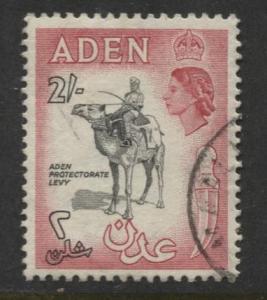 ADEN - Scott 57- QEII -  Aden Protectorate Levy - 1953-  Used - Single 2/- Stamp