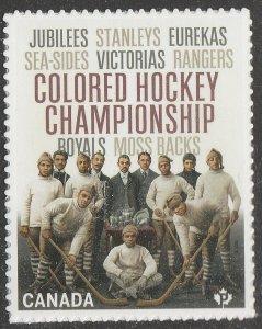 Canada 3233 Black History Colored Hockey Championship 'P' single MNH 2020