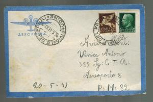 1943 Udine Italy Airmail Cover Army Post to Aereoporto 8