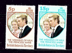 Br Ant Territories 60-61 MNH 1973 Princess Anne Wedding