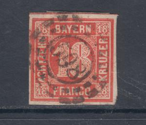 Bavaria Sc 14 used 1862 18kr Numeral, 598 in open millwheel cancel