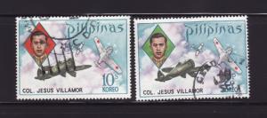Philippines 1186-1187 Set U Planes, Col Jesus Villamor (A)