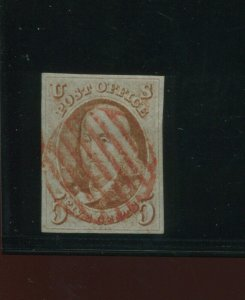 Scott 1 Franklin Imperf Used Stamp with Nice Cancel (Stock 1-A14)