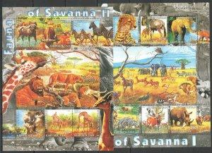 Kyrgyzstan MNH 2-S/S Fauna Of Savanna Wild Animals & Birds 2004