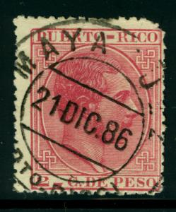 PUERTO RICO 1882 K.ALFONSO XII  2c rose Sc# 64 with SON MAYAGUEZ 21 DEC 86 cxl