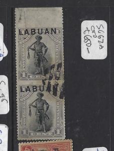 LABUAN (P1812B) 1C MAN VERT PR IMPERF BETWEEN SG 62A CTO   VFU  RARE
