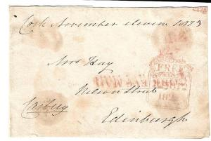 Ireland to Scotland 1823 Stampless Cover Slogan Cork Evg Mail