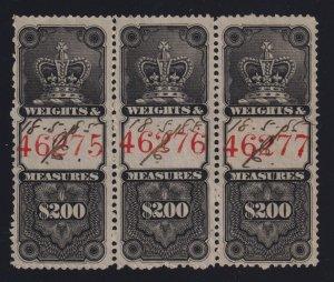 Canada VD #FWM12 (1876) $2 black Weights & Measures Revenue Used Strip