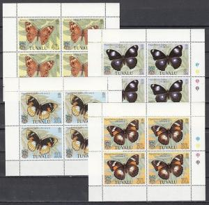 Tuvalu, Scott cat. 146-149. Butterflies sheets of 4.