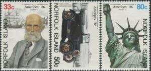 Norfolk Island 1986 SG385-387 Ameripex Stamp Exhibition set MNH