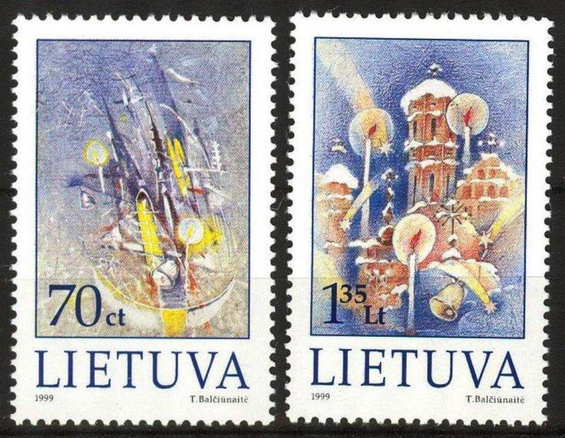 Lithuania 1999 Christmas set of 2 MNH