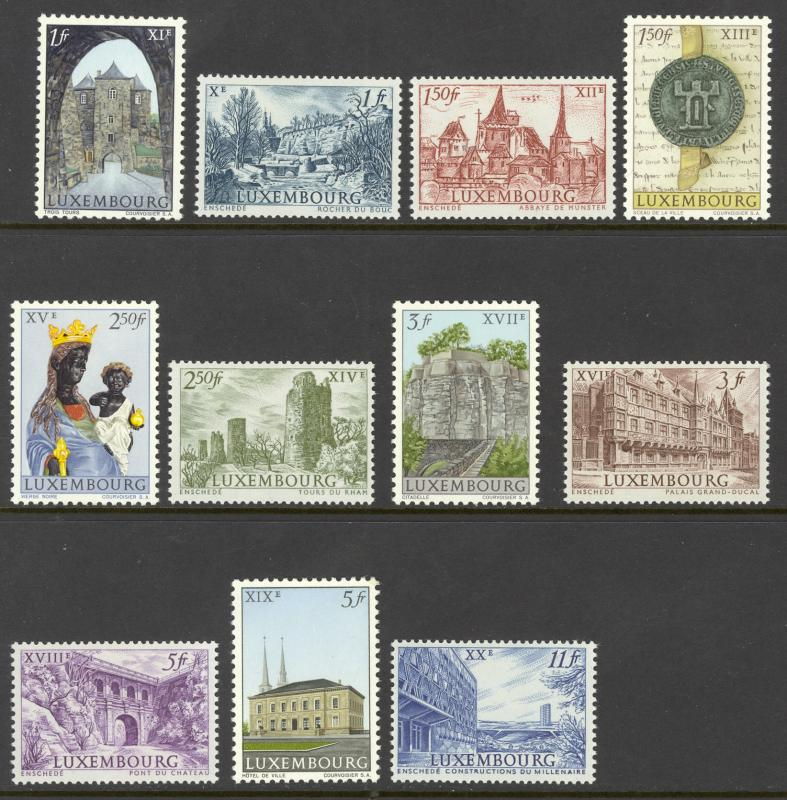 Luxembourg Sc# 389-399 MH 1963 1fr-11fr Historic Buildings