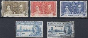 SEYCHELLES  1937 - 46  CORONATION &  VICTORY SET MH
