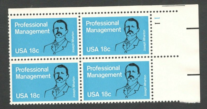1920 Management Education Plate Block Mint/nh (Free Shipping)