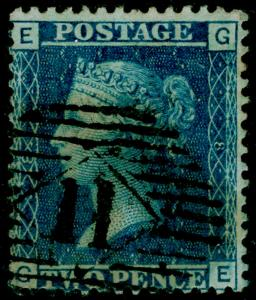 SG45, 2d blue PLATE 8, USED. Cat £42. GE
