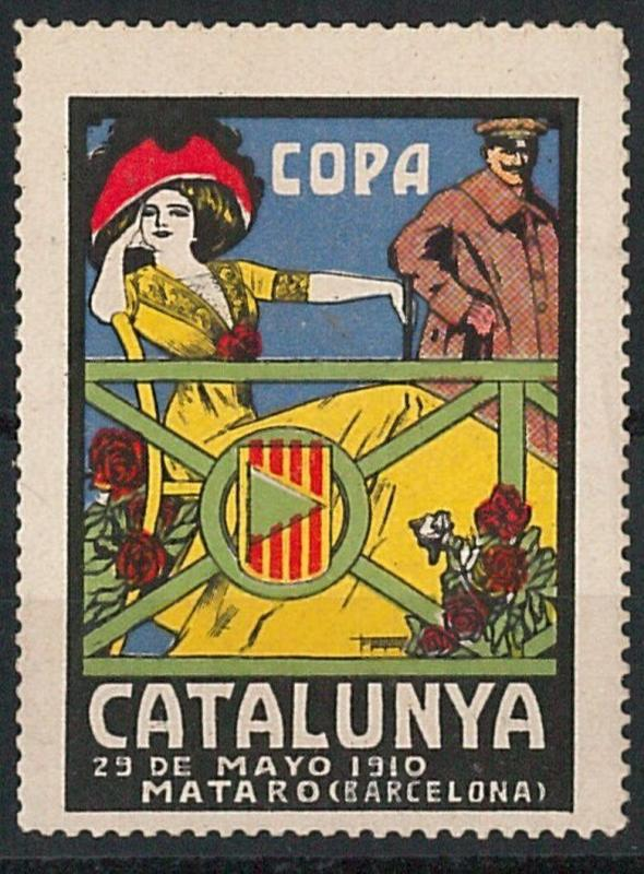 56861 -  VINTAGE  POSTER STAMP Label - SPAIN : CATALUNYA CUP - AUTO 1910