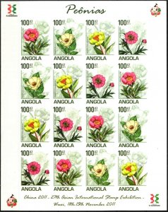 Angola 2011 Flowers Peonies Sheet of 16 Imperf. MNH