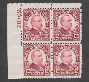 693 MNH, 12c. Cleveland Plate Block,  scv: $35, Free, Insured Shipping