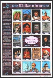 Palau. 2000. Small sheet 1587-1603. Millennium, Napoleon, Marx, Darwin, Boliv...