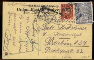 Turkey 1918 Cover to Berlin Jaffa Israel PPC 90432