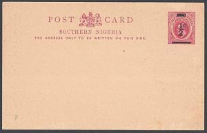 SOUTHERN NIGERIA EVII ½d on 1d postcard fine unused........................54085
