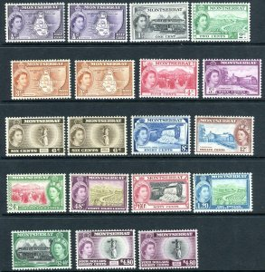 MONTSERRAT-1953-62  A lightly mounted mint set to $4.80 including both types of