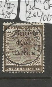 British East Africa On India SG 51 Inverted V For A in Opt VFU (6cpq)