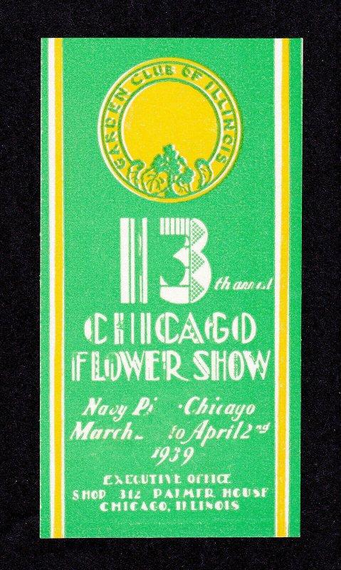 REKLAMEMARKE POSTER STAMP 13TH CHICAGO FLOWER SHOW 1939 MNH-OG