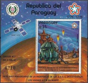 1977 Paraguay Project Viking, Mars Station, Sheet Nr. 295 VF/MNH, CAT 28$