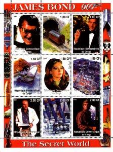 Congo 2001 James Bond Hollywood Movie Cinema 9v Mint Full Sheet. (L-17)