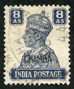 CHAMBA STATE SG118 KGVI 8a slate-violet Fine Used (genuine postmark)