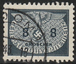 Stamp Germany Poland General Gov't Official Mi 17 Sc NO17 WW2 Occupation Used