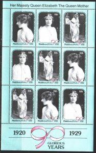Maldives. 1990. Small sheet 1424-26. Queen mother, English royal family. MNH.